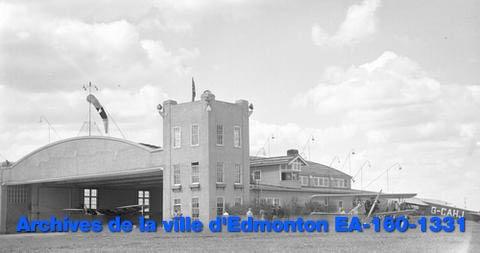 Environs de l'Aéroport BlatchfordFieldd'Edmonton (nommé l'Aéroport du centre-ville) en1937